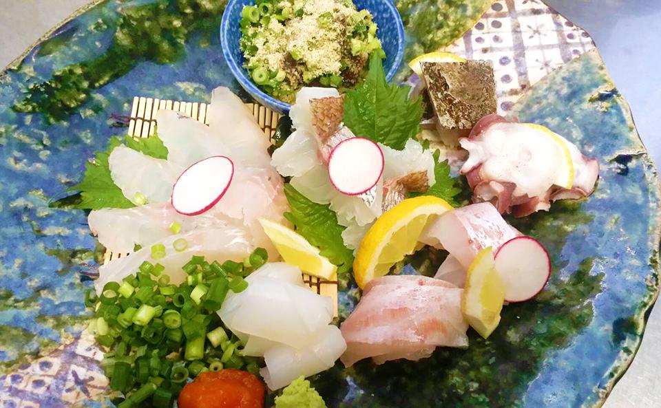 本日の刺盛り、旬の魚